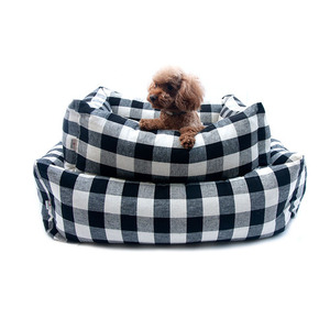 LINEN CHECK CUSHION 린넨체크 쿠션_BLACK